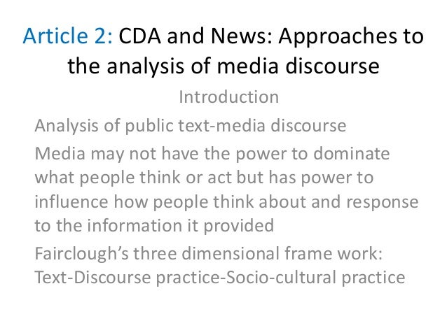 how different media reflects reality critical discourse analysis Comparative study of urdu and english newspaper headlines of pakistan: different through critical discourse analysis approach of media text analysis and.