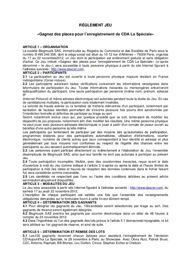 RÉGLEMENT JEU          «Gagnez des places pour l'enregistrement de CDA La Spéciale»ARTICLE 1 – ORGANISATIONLa société Blog...