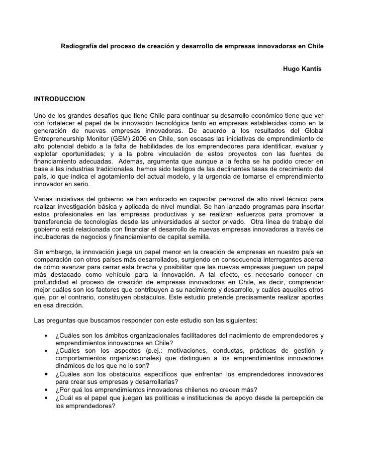 Radiografía del proceso de creación y desarrollo de empresas innovadoras en Chile                                         ...