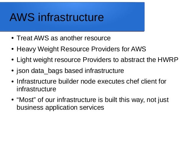 AWS infrastructure ● Treat AWS as another resource ● Heavy Weight Resource Providers for AWS ● Light weight resource Provi...