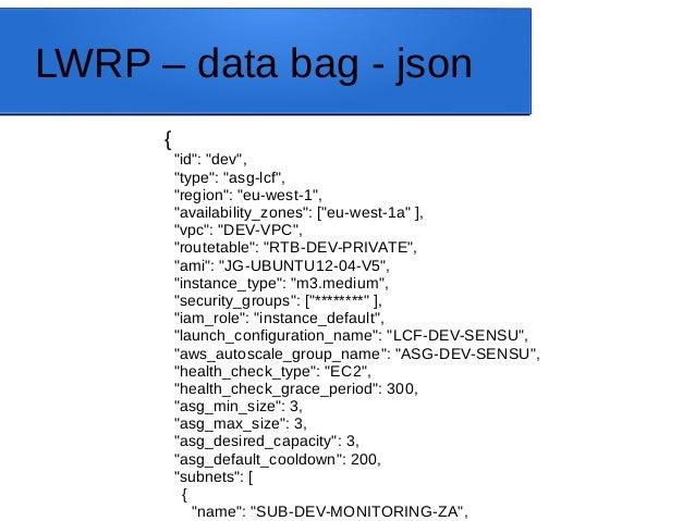 "LWRP – data bag - json { ""id"": ""dev"", ""type"": ""asg-lcf"", ""region"": ""eu-west-1"", ""availability_zones"": [""eu-west-1a"" ], ""vp..."