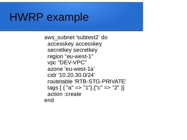 "HWRP example aws_subnet 'subtest2' do accesskey accesskey secretkey secretkey region ""eu-west-1"" vpc ""DEV-VPC"" azone 'eu-w..."