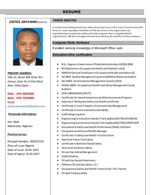 RESUME JUSTICE ANYANWUMWSO PRESENT ADDRESS Villa 12 Street 859 Omar Bin