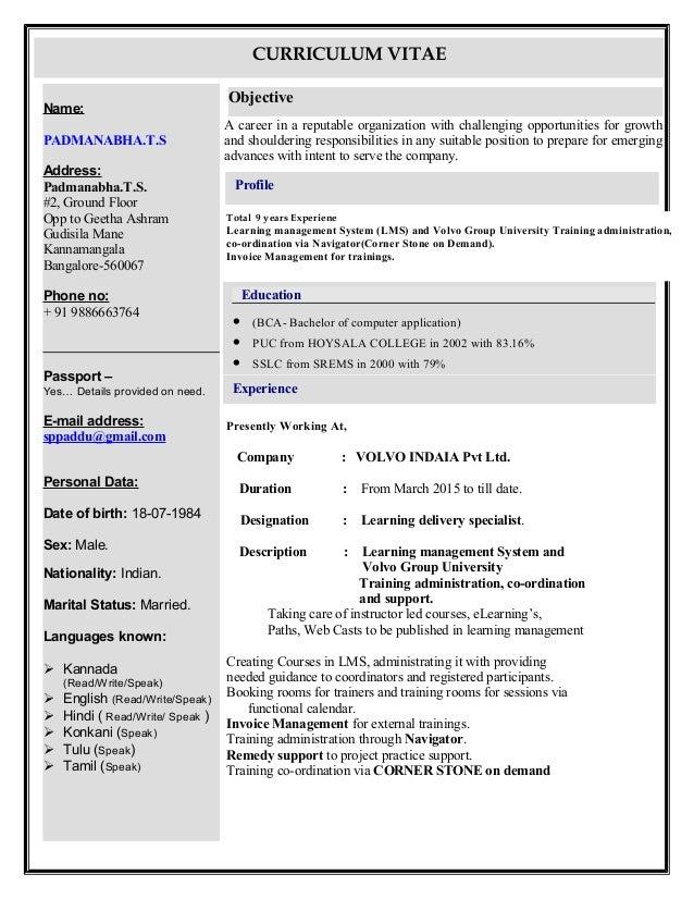 padmanabha resume