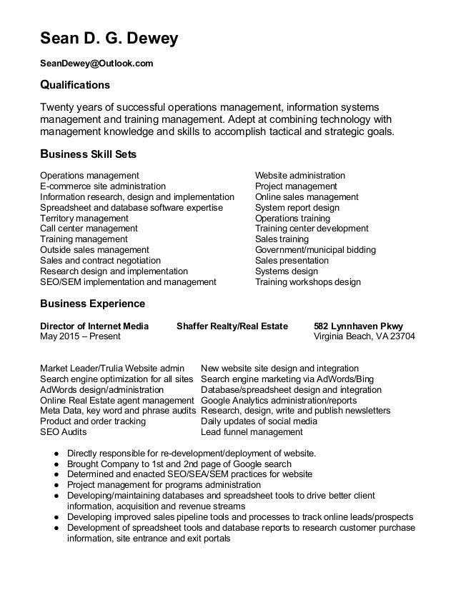 SeanD.G.Dewey  SeanDewey@Outlook.com  Qualifications  Twentyyearsofsuccessfuloperationsmanagement,info...