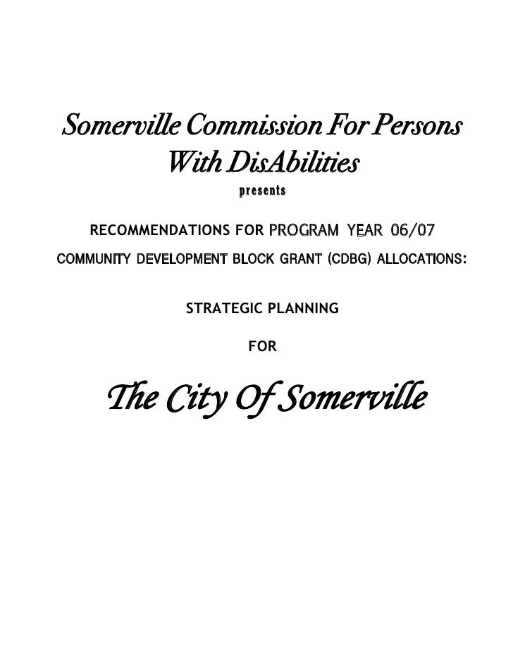 Somerville Commission For Persons          With DisAbilities                        presents      RECOMMENDATIONS FOR PROG...