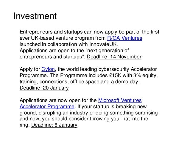Investment Entrepreneurs and startups can now apply be part of the first ever UK-based venture program from R/GA Ventures ...