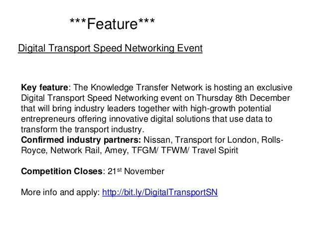Key feature: The Knowledge Transfer Network is hosting an exclusive Digital Transport Speed Networking event on Thursday 8...
