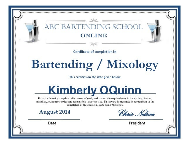 certificate kimberly bartending abc mixology slideshare oquinn upcoming completion