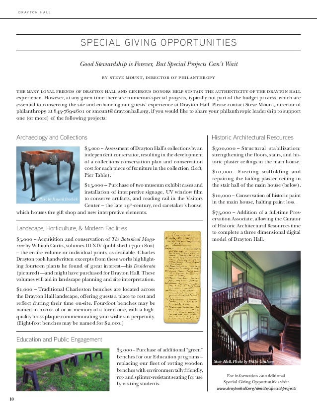 d r ay t o n h a l l 10 SPECIAL GIVING OPPORTUNITIES Archaeology and Collections $5,000–Assessment of Drayton Hall's col...