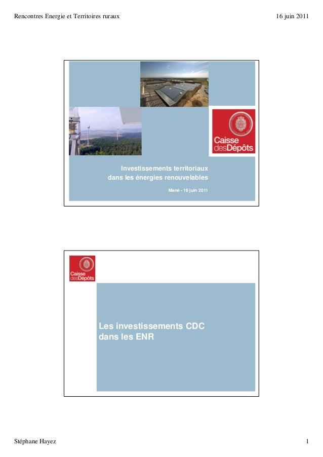 Rencontres Energie et Territoires ruraux 16 juin 2011 Stéphane Hayez 1 21 juin 201116 juin 2011 Prés investissements bioma...