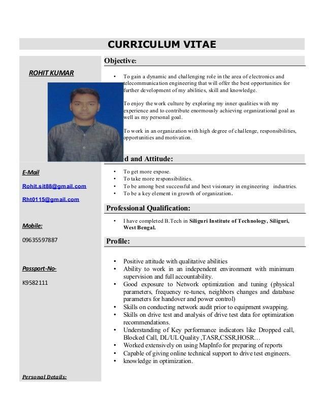CURRICULUM VITAE ROHIT KUMAR E-Mail Rohit.sit88@gmail.com Rht0115@gmail.com Mobile: 09635597887 Passport-No- K9582111 Pers...