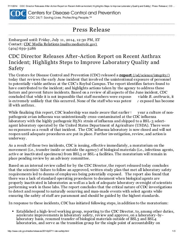 7/11/2014 CDC Director Releases After-Action Report on Recent AnthraxIncident; Highlights Steps to Improve LaboratoryQuali...
