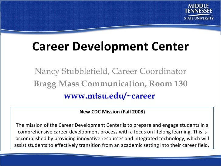 Career Development Center Nancy Stubblefield, Career Coordinator Bragg Mass Communication, Room 130 www.mtsu.edu/~career  ...