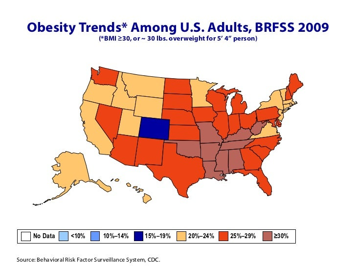 CDC Obesity Maps - Map of obesity us