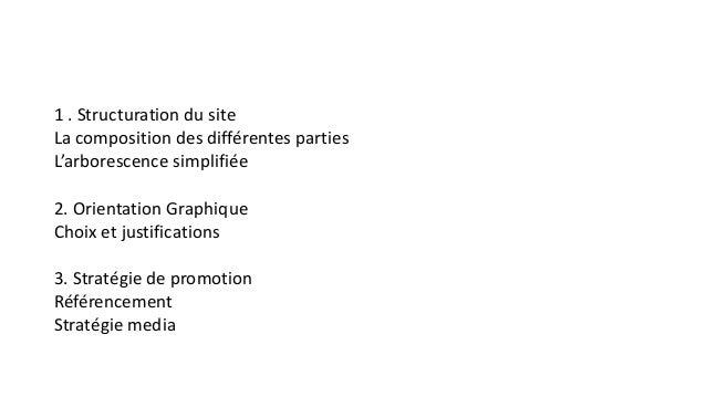 1 . Structuration du site La composition des différentes parties L'arborescence simplifiée 2. Orientation Graphique Choix ...