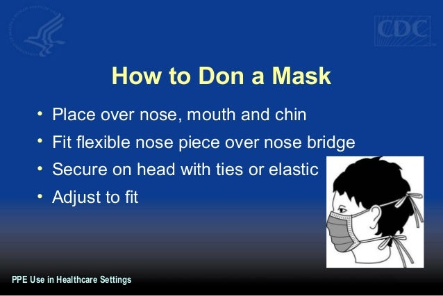 How to Don a Mask • Place over nose, mouth and chin • Fit flexible nose piece over nose bridge • Secure on head with ties ...