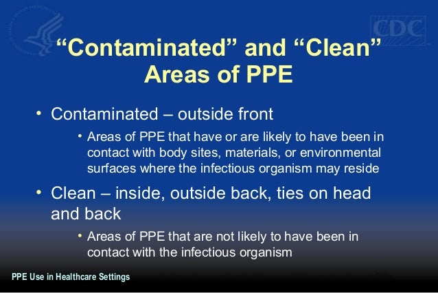 """""""Contaminated"""" and """"Clean"""" Areas of PPE • Contaminated – outside front • Areas of PPE that have or are likely to have been..."""
