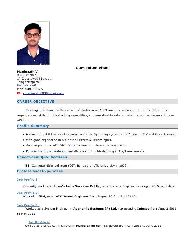 Curriculum vitae Manjunath V #96, 1st Main, 1st Cross, Jyothi Layout, Talaghattapura, Bengaluru-62 Mob: 9886806677 : vman...