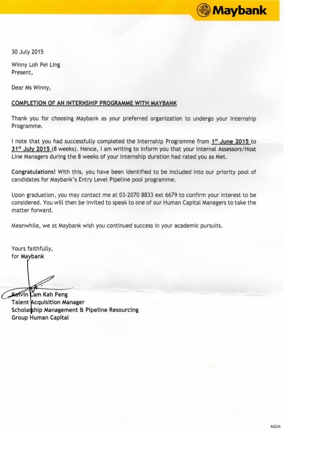 Maybank Completion Letter