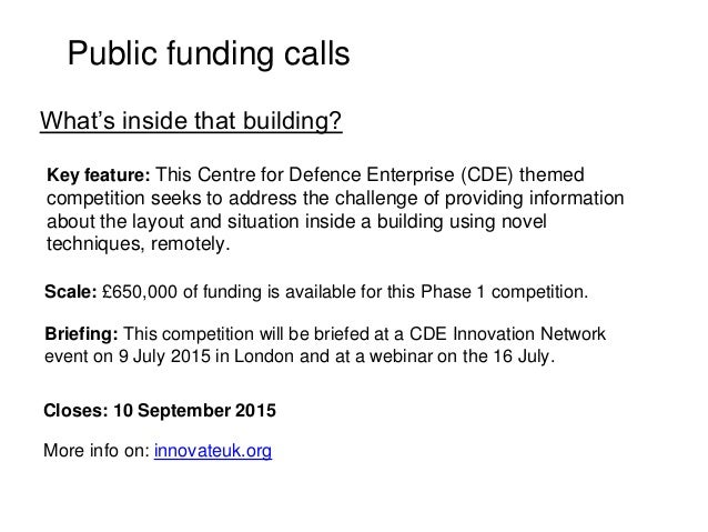 Public funding calls Key feature: This Centre for Defence Enterprise (CDE) themed competition seeks to address the challen...
