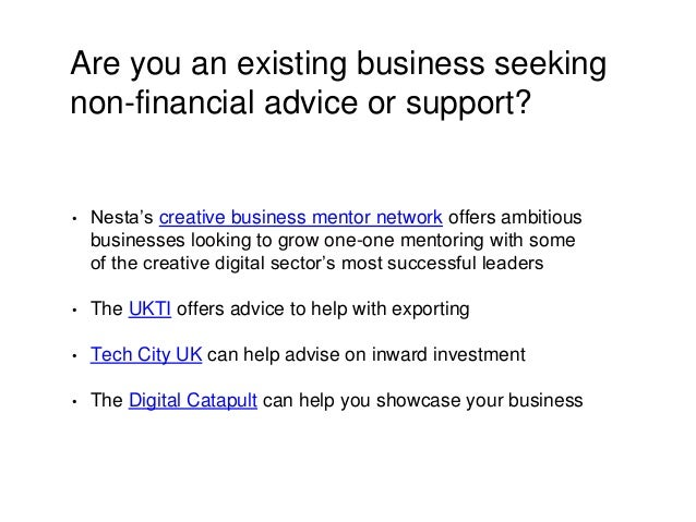 Are you an existing business seeking non-financial advice or support? • Nesta's creative business mentor network offers am...