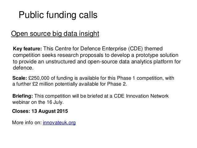 Public funding calls Key feature: This Centre for Defence Enterprise (CDE) themed competition seeks research proposals to ...
