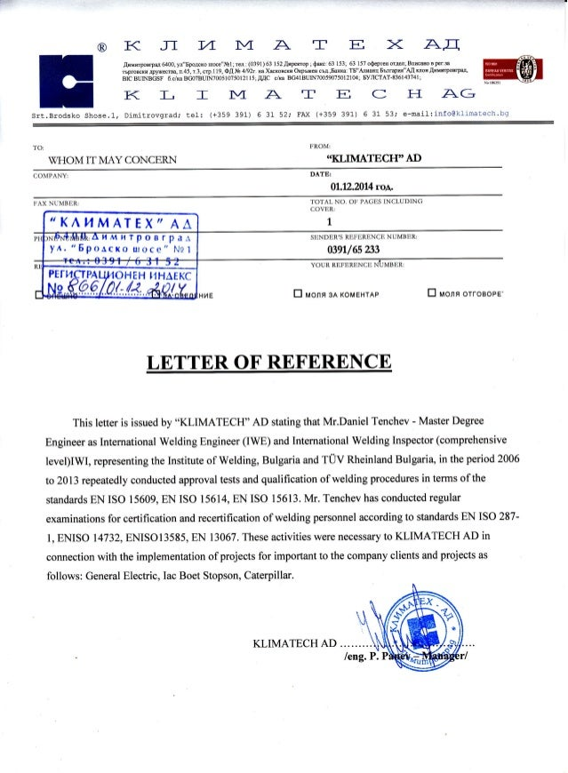 Cite 6 Year Girl: Lettre Of Reference Klimatex