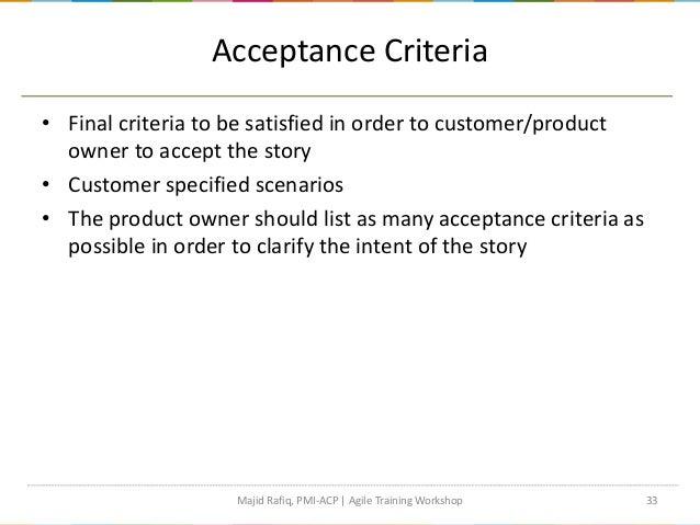 agile acceptance criteria template - agile project management workshop