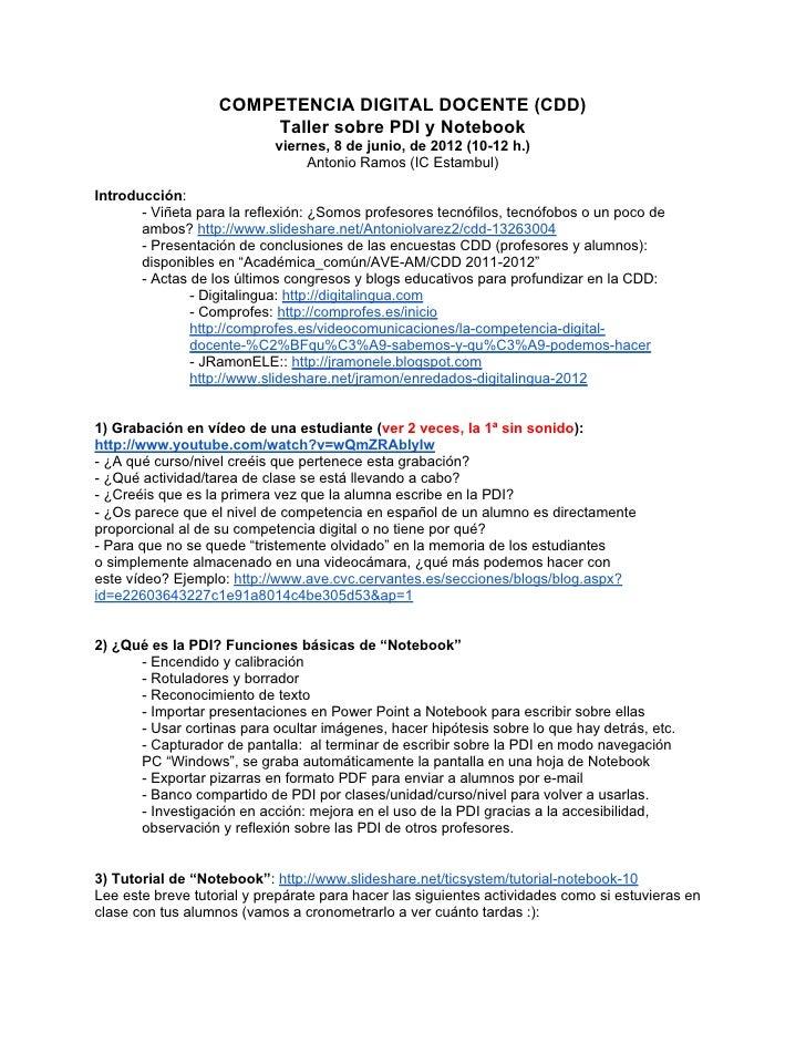 COMPETENCIA DIGITAL DOCENTE (CDD)                       Taller sobre PDI y Notebook                            viernes, 8 ...