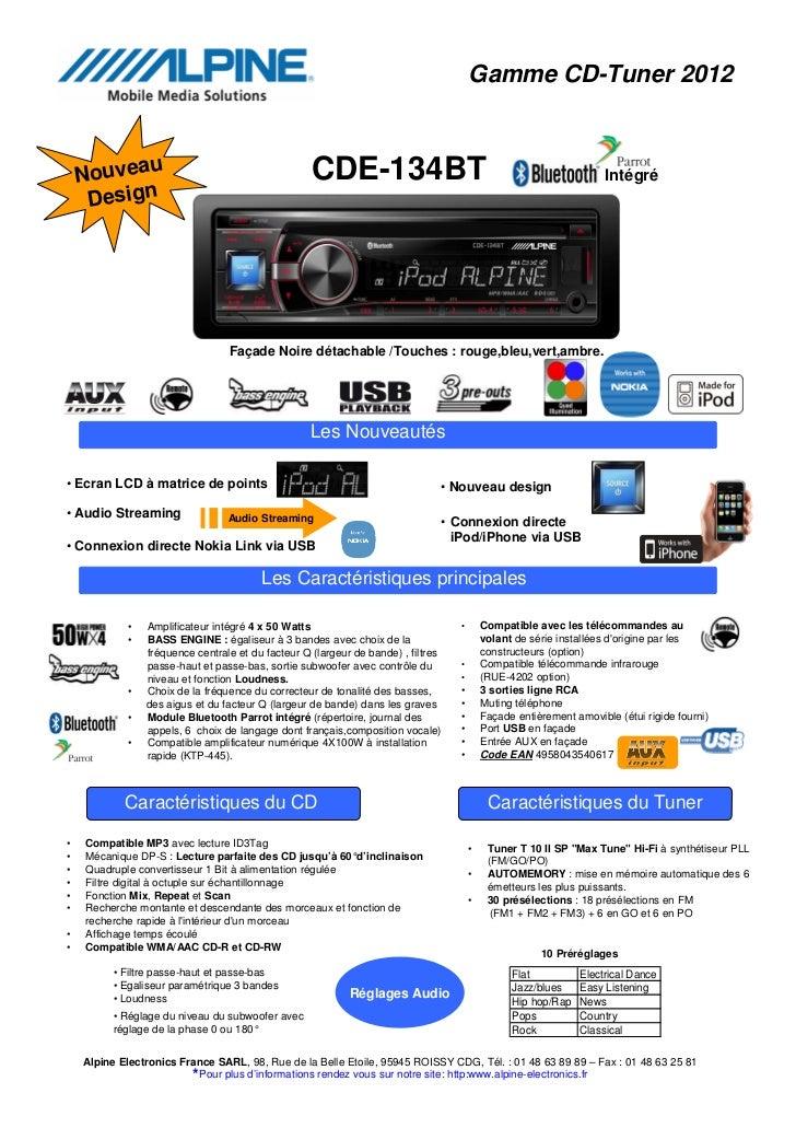Gamme CD-Tuner 2012           u                                       CDE-134BT    Nouvea                                 ...