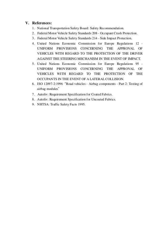 Federal motor vehicle safety standard 208 caferacer for Federal motor vehicle safety standards