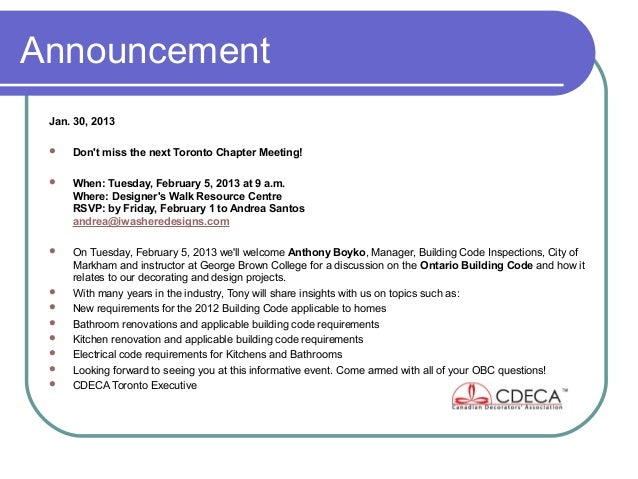Announcement Jan. 30, 2013    Dont miss the next Toronto Chapter Meeting!    When: Tuesday, February 5, 2013 at 9 a.m.  ...