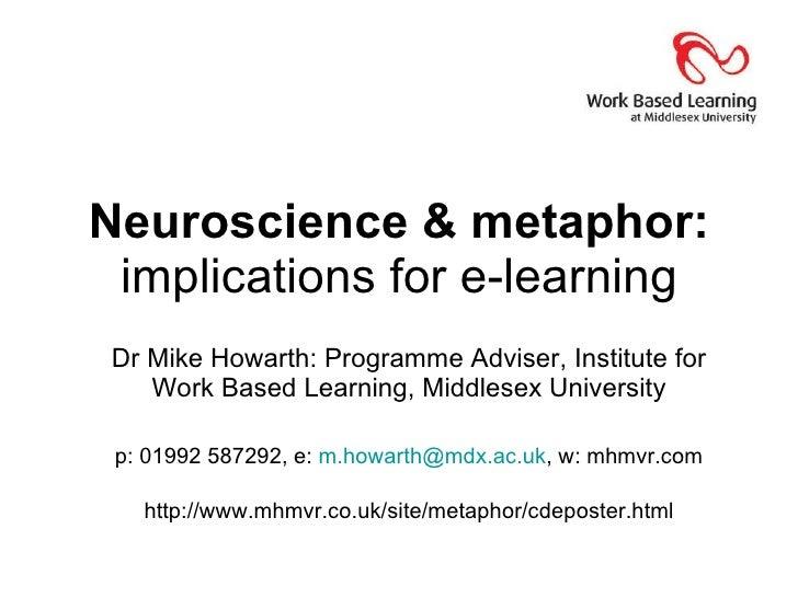 Neuroscience & metaphor:  implications for e-learning Dr Mike Howarth: Programme Adviser, Institute for Work Based Learnin...