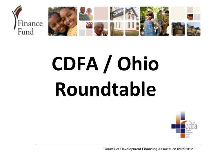 CDFA / OhioRoundtable     Council of Development Financing Association 09252012