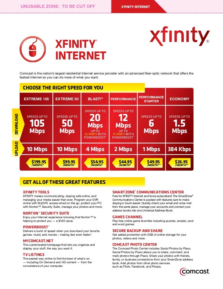 Comcast Xfinity Internet Only Deals Currently, you can check if Xfinity internet is available in your area and get special pricing through this offer page. The prices typically run less than $1 per Mbps, so it's perfect for those looking to cut the cord and need an internet service provider.
