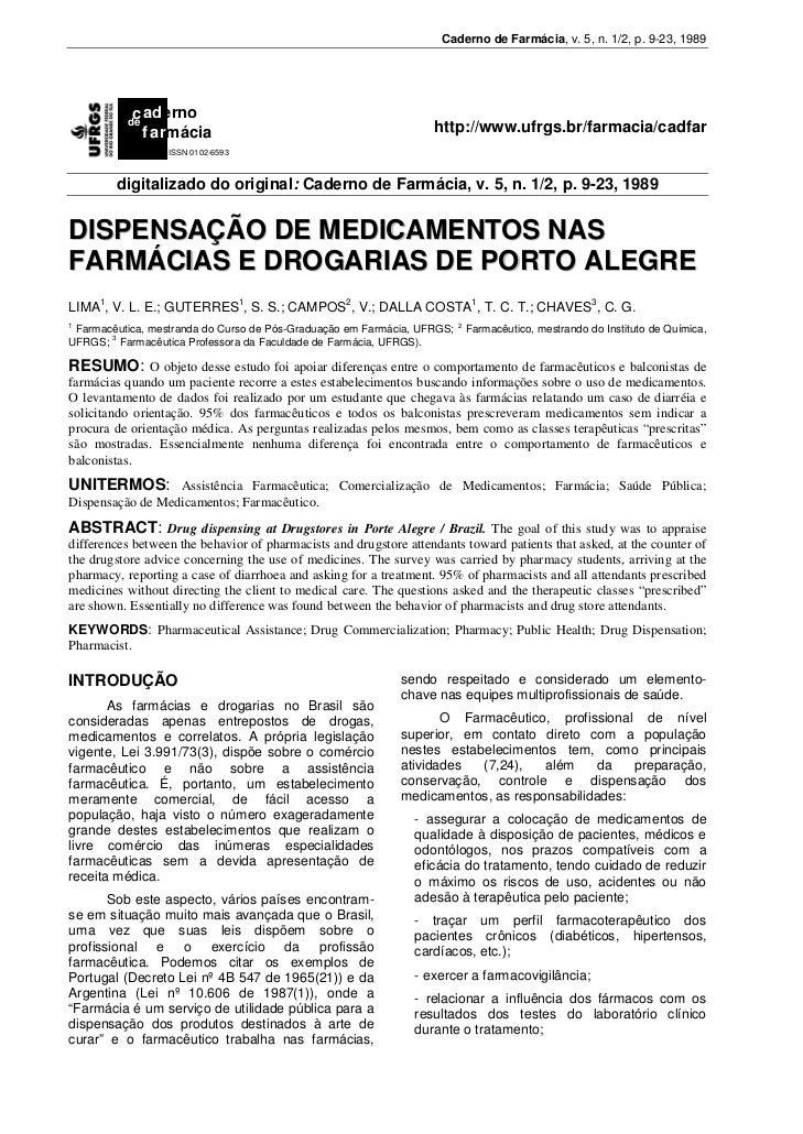 Caderno de Farmácia, v. 5, n. 1/2, p. 9-23, 1989           c aderno          de            f armácia                      ...
