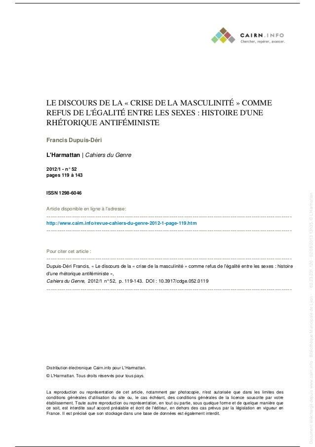 LE DISCOURS DE LA « CRISE DE LA MASCULINITÉ » COMME REFUS DE L'ÉGALITÉ ENTRE LES SEXES : HISTOIRE D'UNE RHÉTORIQUE ANTIFÉM...