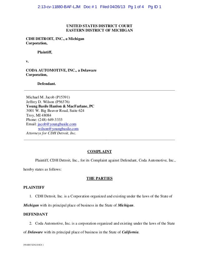 {YB:00072242.DOCX }UNITED STATES DISTRICT COURTEASTERN DISTRICT OF MICHIGANCDH DETROIT, INC., a MichiganCorporation,Plaint...