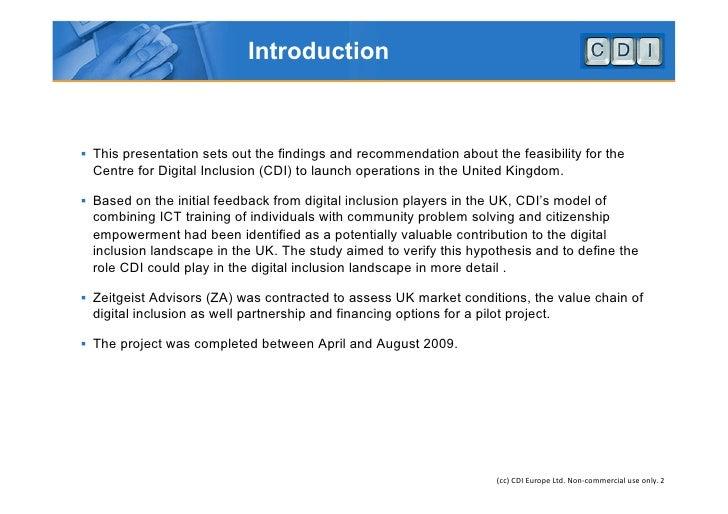 CDI UK Feasibility Study 2009 - Digital Inclusion Research Slide 2