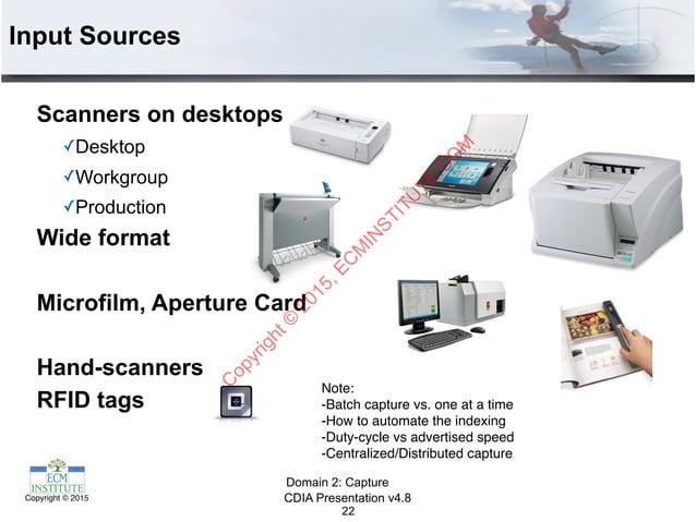 CDIA Presentation v4.8Copyright © 2015 Input Sources Scanners on desktops ✓Desktop ✓Workgroup ✓Production Wide format Micr...