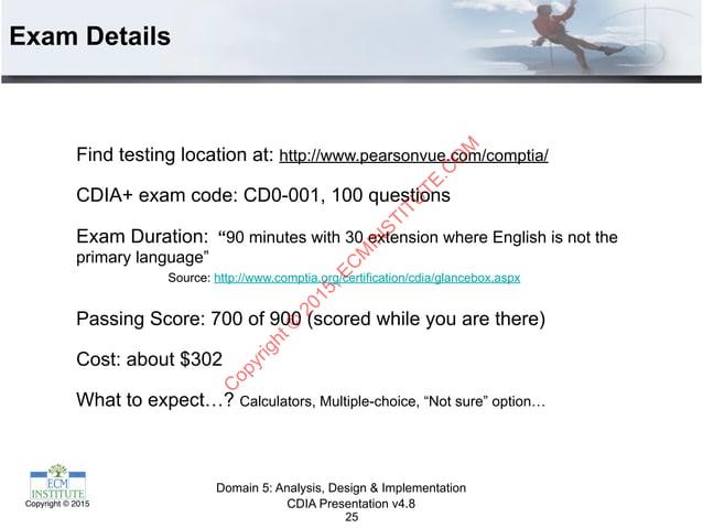 CDIA Presentation v4.8Copyright © 2015 Exam Details 25 Find testing location at: http://www.pearsonvue.com/comptia/ CDIA+ ...