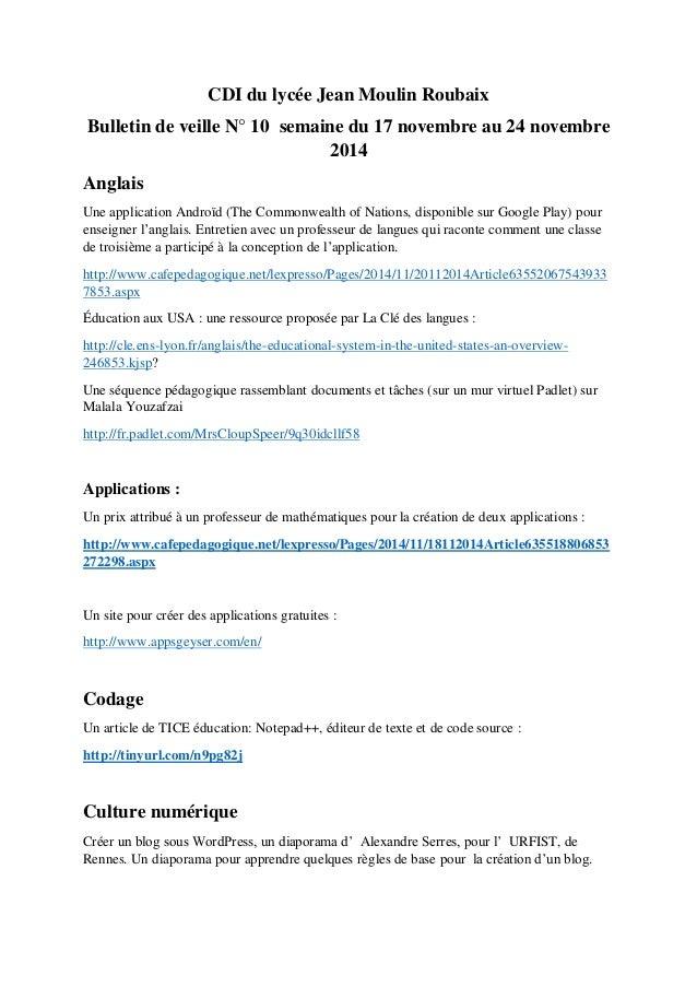 CDI du lycée Jean Moulin Roubaix Bulletin de veille N° 10 semaine du 17 novembre au 24 novembre 2014 Anglais Une applicati...