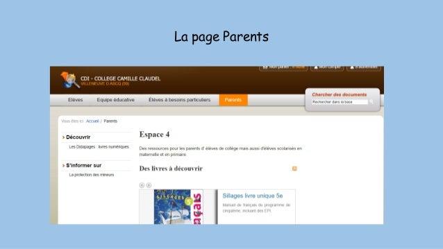 La page Parents