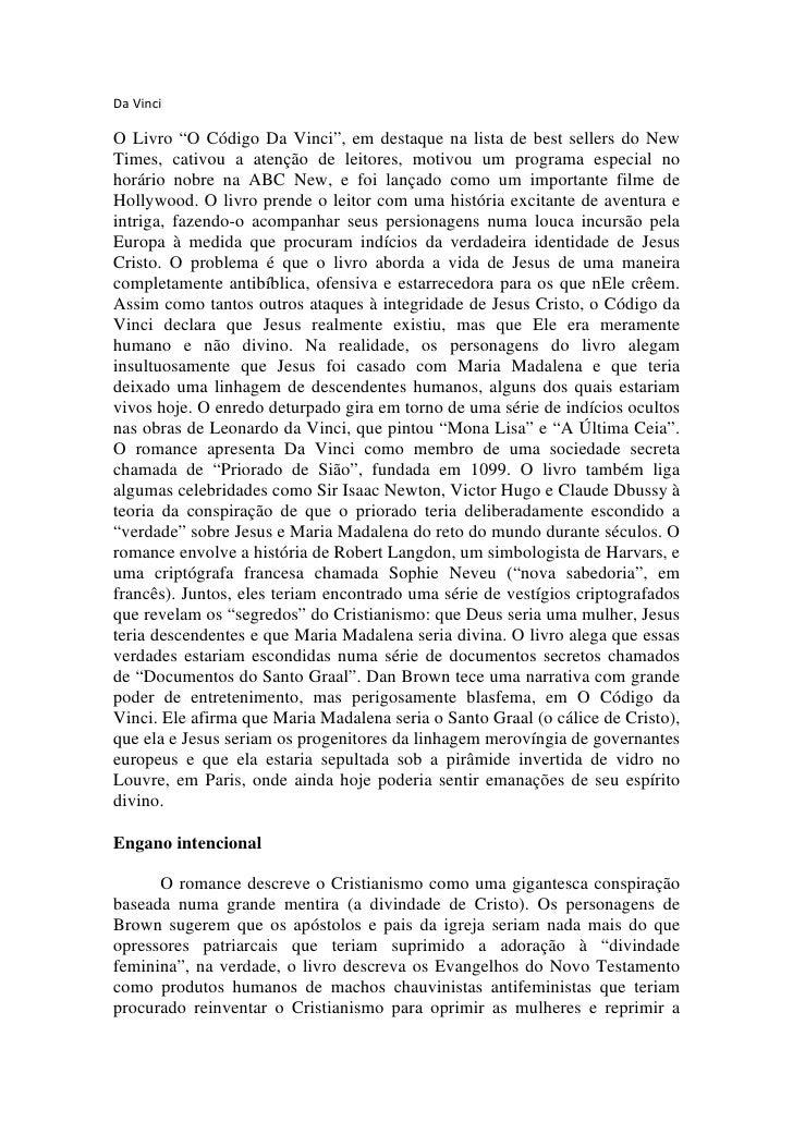 """Da Vinci  O Livro """"O Código Da Vinci"""", em destaque na lista de best sellers do New Times, cativou a atenção de leitores, m..."""