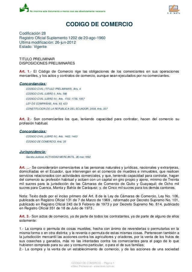 CODIGO DE COMERCIO Codificación 28 Registro Oficial Suplemento 1202 de 20-ago-1960 Ultima modificación: 26-jun-2012 Estado...