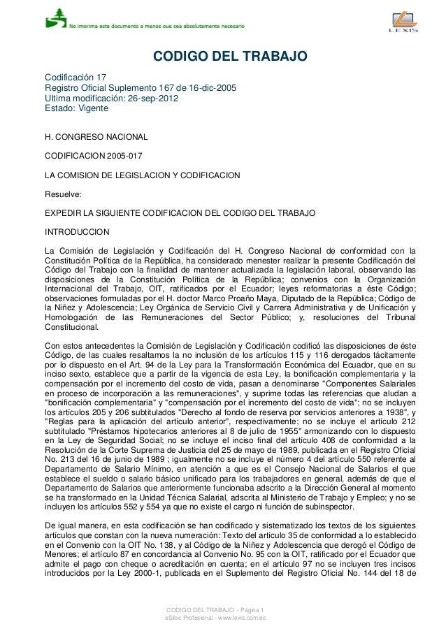 codigo trabajo ecuatoriano 2016 codigo de trabajo pdf 2016