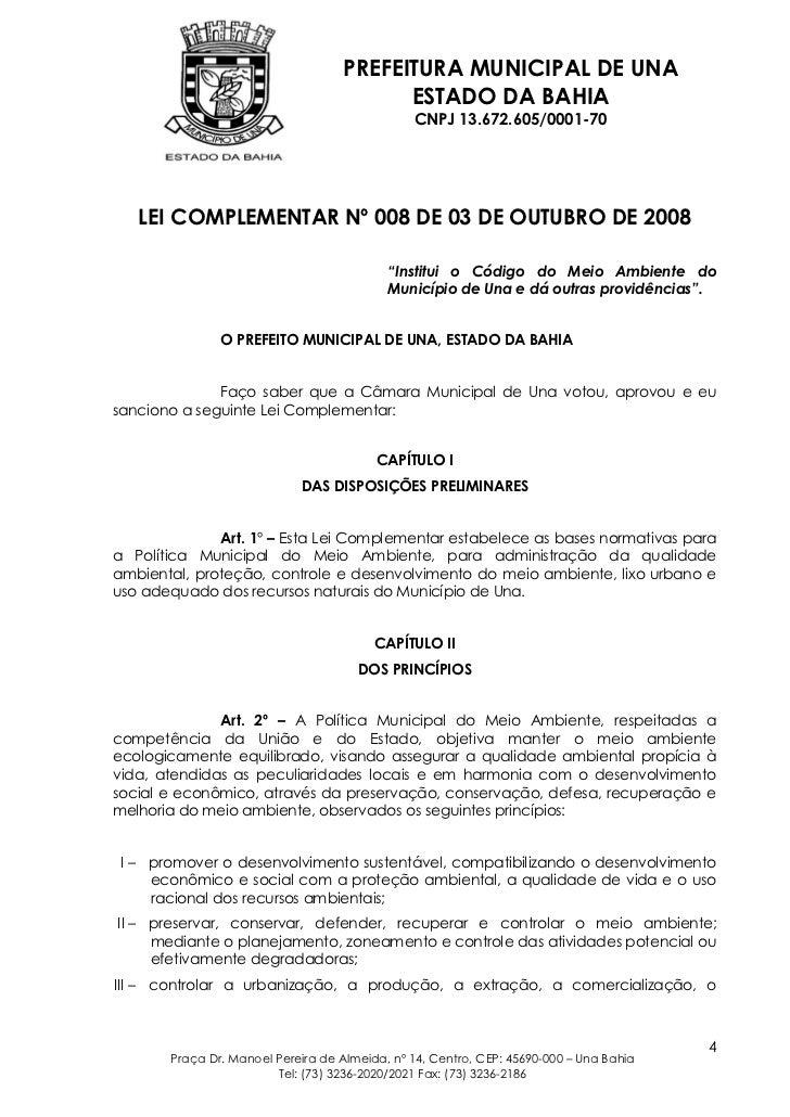 PREFEITURA MUNICIPAL DE UNA                                         ESTADO DA BAHIA                                       ...