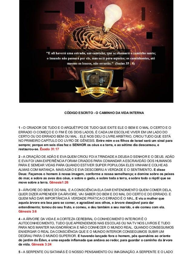 CÓDIGO ESCRITO - O CAMINHO DA VIDA INTERNA 1 - O CRIADOR DE TUDO E O ARQUÉTIPO DE TUDO QUE EXITE ELE O BEM E O MAL O CERTO...