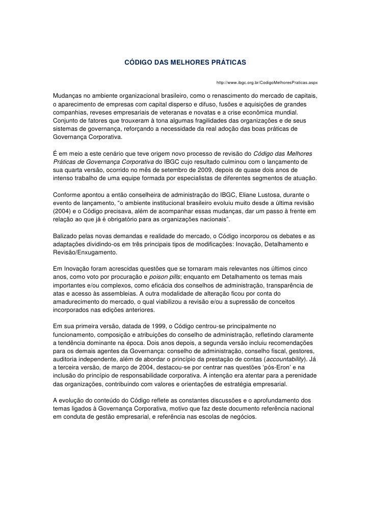 CÓDIGO DAS MELHORES PRÁTICAS                                                           http://www.ibgc.org.br/CodigoMelhor...